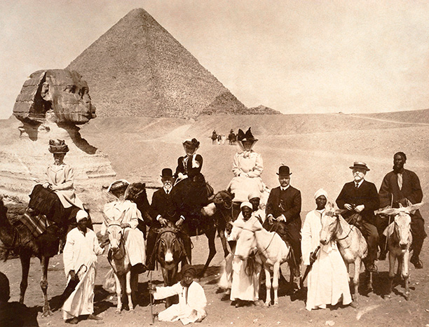 Young Agatha Miller riding a donkey in the desert. normal activities in the british colonies