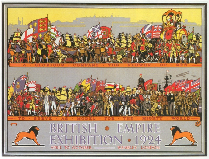 Poster of 1924 British Empire Exhibition. In a time were colonies were loosing their importance, the propaganda was meant to make the Empire feel like a solid institution.