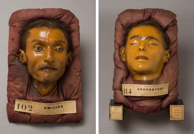 Death masks of a murderer and a brigant.